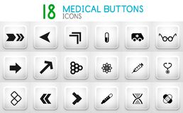 Collection of grey internet push button with icons Stock Photos