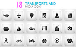 Collection of grey internet push button with icons Stock Image