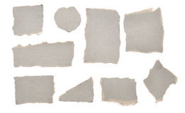 Collection of grey ripped pieces of paper Stock Photos