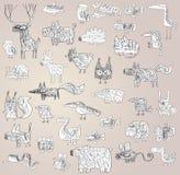 Collection gribouillée par grunge drôle d'animaux en noir et blanc Photos stock
