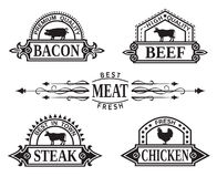 Collection of grill labels Royalty Free Stock Photography