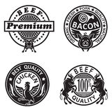 Collection of grill labels Royalty Free Stock Image