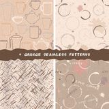 Collection of grunge coffee patterns Royalty Free Stock Image