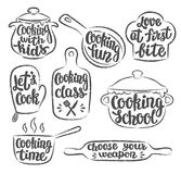 Collection of grunge contoured cooking label or logo. Hand written lettering, calligraphy cooking vector illustration. Royalty Free Stock Images