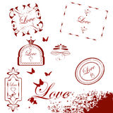 Collection of  grunge Valentine's Day stamps on white ba Royalty Free Stock Photography