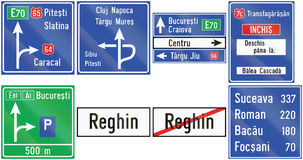 Collection of guide road signs used in Romania Stock Images