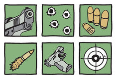 Collection of guns and bullets Royalty Free Stock Image