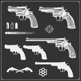 Collection of Guns. Revolvers, Bullets and target. Black and white Royalty Free Stock Image