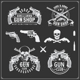 Collection of Guns. Revolvers, shotguns and rifles. Gun club labels and design elements. Black and white Royalty Free Stock Image