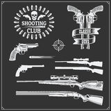 Collection of Guns. Revolvers, shotguns and rifles. Gun club labels and design elements. Black and white Stock Photography