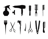 Collection of hairdressing icons. Royalty Free Stock Images