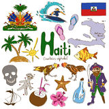 Collection of Haiti icons Stock Images