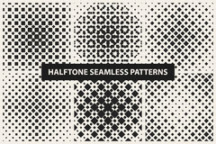 Collection of halftone seamless geometric patterns. Royalty Free Stock Photo