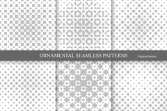 Collection of halftone seamless geometric patterns. Stock Photos