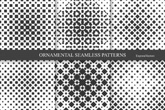 Collection of halftone seamless geometric patterns. Stock Photography