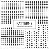 Collection of halftone seamless geometric patterns. Stock Image