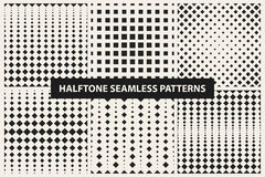 Collection of halftone seamless geometric patterns Stock Photo