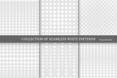 Collection of halftone seamless geometric patterns. Royalty Free Stock Photography