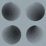 Collection of halftone sphere vector logo template Royalty Free Stock Images