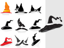 Collection of halloaween hat with background Stock Photos