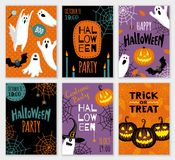 Collection of halloween banner templates. Royalty Free Stock Photography