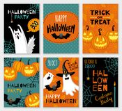 Collection of halloween banner templates. Royalty Free Stock Images