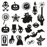 Collection of Halloween black icons. Vector illustration on white vector illustration
