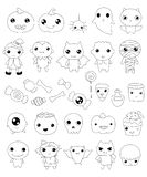 Collection of halloween characters, halloween outline elements stock illustration