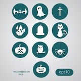 Collection of 10 halloween icons. Flat style eps 10 Royalty Free Stock Photography