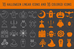 Collection of 16 halloween linear and colored icons. Vector illustration.  Stock Photos