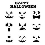 Collection of Halloween pumpkins carved faces silhouettes. Black and white images. Vector illustration Royalty Free Stock Photography