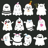 Cute ghost character illustration. Collection of Halloween pumpkins carved faces silhouettes Royalty Free Stock Photo