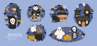 Collection of Halloween scenes with cute and funny fairy cartoon characters - grim reaper, vampire, ghost, Jack-o. Lantern or pumpkin lantern, owl, black cat Royalty Free Stock Images