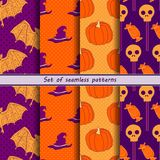 Collection of halloween seamless patterns. Orange with purple Royalty Free Stock Photography