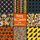 Collection of halloween seamless patterns. Royalty Free Stock Photo