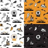 Collection of halloween seamless patterns with ghosts, spiders, bats, magic books and candles. vector illustration