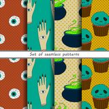 Collection of halloween seamless patterns. Vector Stock Photography
