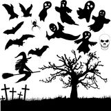 Collection of Halloween silhouettes Royalty Free Stock Photo