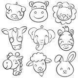 Collection hand draw animal head doodles Stock Photography