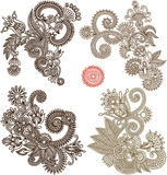 Collection of hand draw line art ornate flower Royalty Free Stock Photo