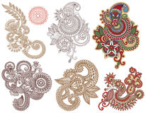 Collection of hand draw line art ornate flower Stock Photography