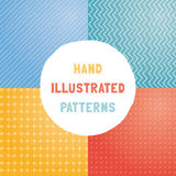 Collection of hand draw vector patterns. Stock Photos