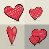Collection of hand drawed hearts Royalty Free Stock Photos