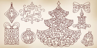 Collection of hand drawing design elements. Royalty Free Stock Images