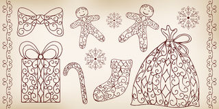 Collection of hand drawing design elements. Stock Photos