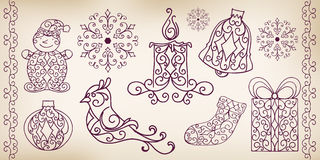 Collection of hand drawing design elements. Stock Photo