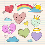 Collection of Hand Drawing Heart Love Shape Royalty Free Stock Image