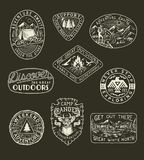 Collection of hand drawn adventure, camping, nature, travel emblems and patches stock illustration