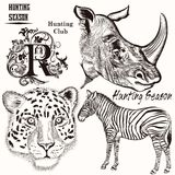 Collection of hand drawn animals for hunting design Royalty Free Stock Image