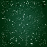 Collection hand drawn arrows on the blackboard Stock Photography